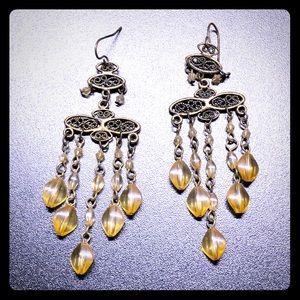 Copper & Yellow Beaded Chandelier Earrings